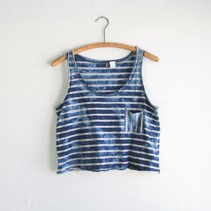 Urban Outfitters BDG blue striped cropped tank top